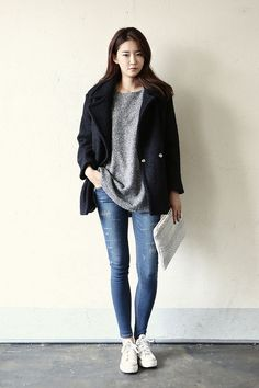 Big Collar Court Jacket   Korean Fashion