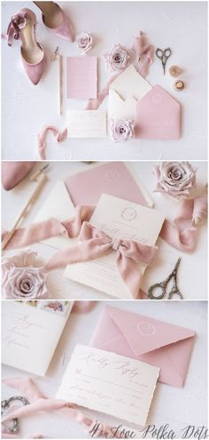 pink calligraphy wedding invitation sets #wedding #weddingideas