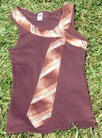 T-shirt...I would pick a more vibrant  color shirt with matching tie. Looks like a fun project!
