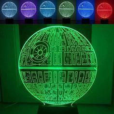 Interlink 3D LED Lampe Stern Illusion Nacht lampe Nachtlicht 6 Farben Illusion Tischdeko Tischlampe
