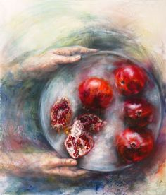 ENTER ABUNDANCE. Oil Mariana Zwaan. Pomegranates are deliciously good to eat and to paint.