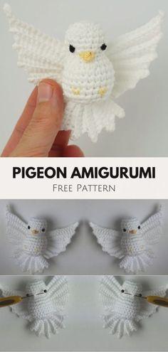 Lovely Pigeon Amigurumi Crochet | Crochet Community Crochet Birds, Crochet Motifs, Love Crochet, Crochet Crafts, Crochet Projects, Sewing Crafts, Crochet Appliques, Crocheted Flowers, Crochet Stars