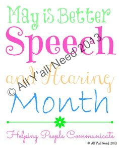 All Yall Need on TpT: May is Better Speech and Hearing Month!