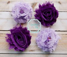 4 shabby hair clips in shades of purple! Find it at Etsy :)
