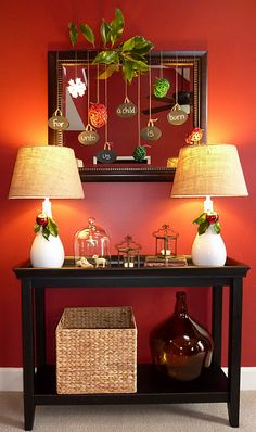 Fun and traditional Christmas hallway decor using a Pier 1 console table and Seagrass Basket tis-the-season Simple Christmas, All Things Christmas, Winter Christmas, Christmas Holidays, Christmas Crafts, Christmas Decorations, Xmas, Table Decorations, Christmas Vignette