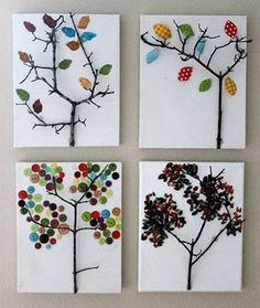 DIY some fun tree at out of nature finds and old craft scraps like buttons and fabric! Great project to do with kids, and adds some texture to your home decor.