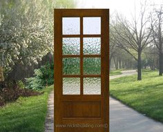 Classy <3 , obscured glass, 8 lite door, wood door, single door, this door brings in light from out side, and yet distorts the image enough so people can not see in the home directly <3 !