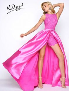 Find this and other MacDuggal Prom Dresses and Pageant Evening Gowns at ThePageantPlanet.com ROMPERS High Neck Natural Mikado long Pink,Turquoise