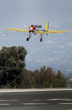 On a wing and a prayer ... Harrison Ford seen flying his Ryan PT-22 plane.