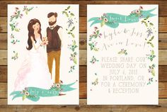 We Are in Love Hand Painted Custom Portrait Wedding Invitations by heartandfox on Etsy // rustic wedding