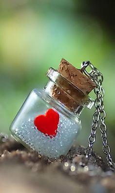 From the bottle of my heart by lieveheersbeestje on deviantART Bottle Jewelry, Bottle Charms, Bottle Necklace, Bottle Art, Diy Jewelry, Jewelry Making, Miniature Bottles, I Love Heart, Tiny Heart
