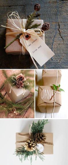 Creative and Inexpensive Christmas Gift Wrapping Ideas Sprigs of green perk up these presents wrapped in craft paper with pinecone and tag.Sprigs of green perk up these presents wrapped in craft paper with pinecone and tag. Inexpensive Christmas Gifts, Christmas Gift Wrapping, Christmas Presents, Diy Gifts, Holiday Gifts, Thoughtful Christmas Gifts, Inexpensive Gift, Homemade Gifts, Winter Christmas