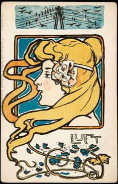'Air.' Postcard design attributed to Hans Heinrich Christiansen (b. 1866). Image and text courtesy MFA Boston.