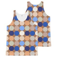 Mid-Century Giant Dots Taupe Beige and Blue All-Over-Print Tank Top - modern gifts cyo gift ideas personalize