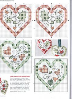 Hearts cross stitch ... no color chart available, just use pattern chart as your color guide.