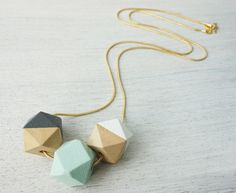 Long Wooden Polygons Necklace, pastel geometric necklace, Scandinavian design on Etsy, $69.00