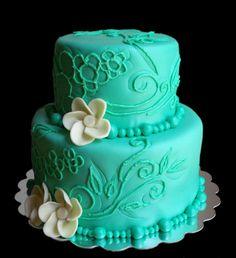 Mom's 60th birthday cake? #Aqua #turquoise #cake