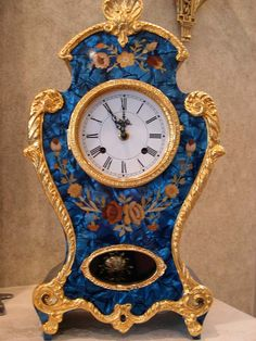 Le Ore 416 Clock in Blue Mother-of-Pearl Style with Chime Unusual Clocks, Cool Clocks, French Clock, Wall Clock Wooden, Fancy Watches, Classic Clocks, Pendulum Clock, Art Nouveau, Retro Clock