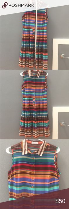 Calvin Klein Multi Color Drop Waist Dress Lovely colorful dress for summer! Calvin Klein Dresses
