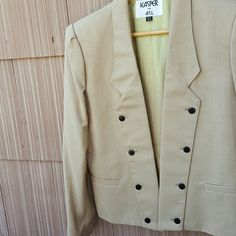 Tan Linen Look Textured Jacket Blazer Kaspar ASL Sharp looking jacket in a tan linen look jacket. Would be so hot with jeans or slacks.  Absolutely sexy style designed to wear open. A touch small for me and I typically wear a 12. This jacket is marked 12/13, but I would say more like a 10/12? First pic is best indicator of color. It's hard to show color perfectly on a digital screen. NWT Jackets & Coats Blazers