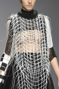 Monochrome Beaded Top - structured fashion design detail; innovative textiles for fashion // Serena Gili Fall 2014