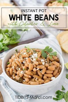 Instant Pot White Beans with Cilantro and Lime are an amazing side dish or a vegetarian main dish. Serve with tacos, nachos, or a bag of chips. Perfect addition to any Mexican dish! #instantpotbeans #whitebeans #cilantrolime #driedbeans