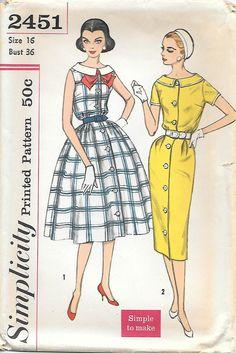 1950s Wide Neck Shirtwaist Dress Simplicity02451 Sewing Pattern