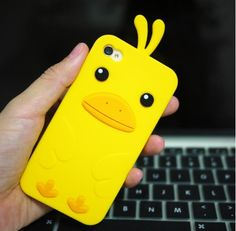 Cute Duck Silica Gel Case for iPhone4 and 4s - Apple Accessories - Funny Gadgets Free shipping