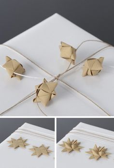 Gifts Wrapping & Package : Paper Stars by Stjernestunder - Giftwrapping Ideas with Paper Twine Wrapping Ideas, Wrapping Gift, Gift Wraping, Christmas Gift Wrapping, Christmas Crafts, Origami And Kirigami, Origami Paper Art, Origami Boxes, Pretty Packaging