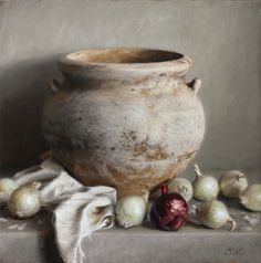 "Michael DeVore, ""The Weathered Vase"" --24x24 oil on linen--International Guild of Realism Exhibition at Principle Gallery"