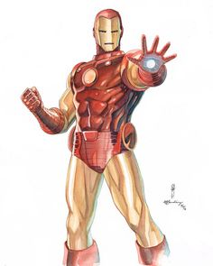 Iron Man pencils by Garrie Gastonny watercolors by Elfandiary Marvel Comics Art, Marvel Comic Universe, Comics Universe, Marvel Heroes, Marvel Avengers, Comic Books Art, Comic Art, Book Art, Superhero Villains