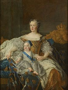 Marie Lesczcynska, Queen of France (1703-1768) and Louis Ferdinand, Dauphin (1729-1765), ca. 1729 by Alexis-Simon Belle