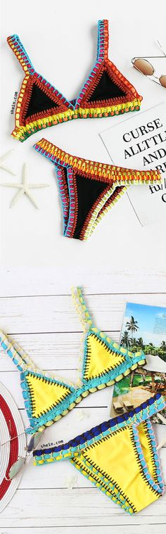 Crochet Trim Triangle Bikini Set