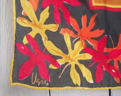 Vintage Vera Scarf c. 1969  Square Silk Red by TheClassicButterfly