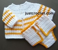 Free crochet pattern for cardigan & diaper set http://www.justcrochet.com/cardi-cover-usa.html #justcrochet