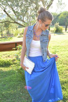 Maxi skirt and denim vest: http://www.breakfastatkaty.com/2012/06/blue-mood.html