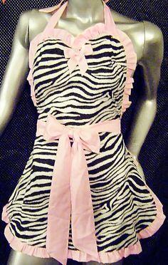Sweetheart Zebra Apron, Sexy Apron, Pin up Apron. $29.99, via Etsy.