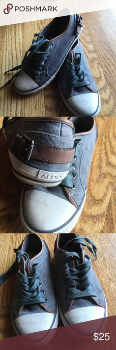 Aldo canvas shoes - adorable! Great design and cute leather buckle details on the heels. Gently worn. Make those jeans pop this fall with these darling shoes!! Aldo Shoes Sneakers