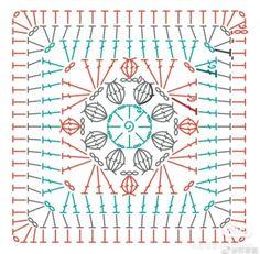 Crochet Blocks, Crochet Squares, Crochet Blanket Patterns, Crochet Diagram, Crochet Chart, Crochet Stitches, Mandala Au Crochet, Point Granny Au Crochet, Patch