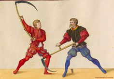 Fighting with scythes, detail of an illustration for Paul Hector Mair's De arte atheltica, made in Augsburg, Germany in the mid century (via). Medieval Art, Renaissance Art, Catch Wrestling, Fight Techniques, Marshal Arts, Shotokan Karate, Landsknecht, Reylo, Military Art