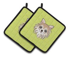 Checkerboard Lime Green Chihuahua Pair of Pot Holders BB1313PTHD
