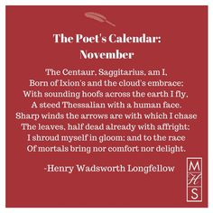 """November from """"The Poet's Calendar"""" by Henry Wadsworth Longfellow"""