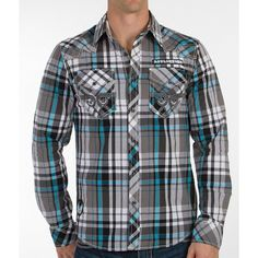 Affliction Final Degree Shirt ($44) ❤ liked on Polyvore featuring men's fashion, men's clothing, men's shirts, men's casual shirts, mens embroidered shirts, mens button front shirts, mens faux leather shirt, mens stretch shirts and mens tartan shirt