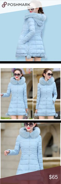 09c6030b62d1 Light Blue Slim Winter Coat Light Blue Slim Winter Coat Slimming effect!  Keep warm in style! 2 rows of buttons on the side for design!