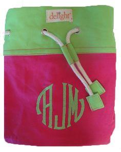 Hot pink monogrammed laundry bag