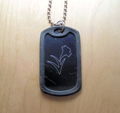Lily, lily dog tag, Easter Lily, Easter, aluminum, pendant, gift idea, lily, lily jewerly, Easter jewelry, gift idea, dog tag, black metal by CutAndStamp on Etsy