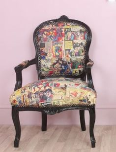 Louis Black Frame Superman Superhero Vintage Comic Book Cartoon Chair
