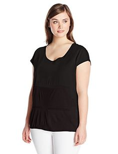 LOOK!! DKNYC Women's Plus-Size Lightweight Jersey Crepe De Chine and Chiffon Pieced Top