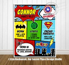 Personalized Birth Stats Comic Book Birth Stats by OurSecretPlace