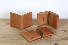 The Stitchless Wallet  Cognac by ApogeeHandmade on Etsy